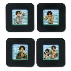 Attack on Titan Anime Coasters Set - Eren, Mikasa, Levi