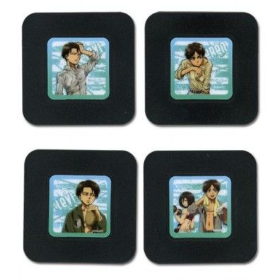 Attack on Titan Anime Coasters Set - Eren, Mikasa, Levi