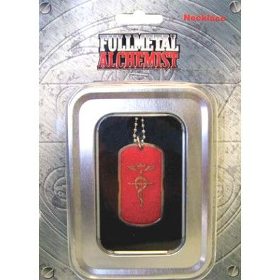 Cross of Flamel Red Dog Tag Necklace