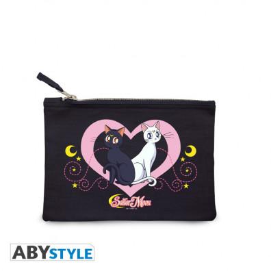 """Sailor Moon - Cosmetic Case - """"Luna & Artemis"""" - Blue"""