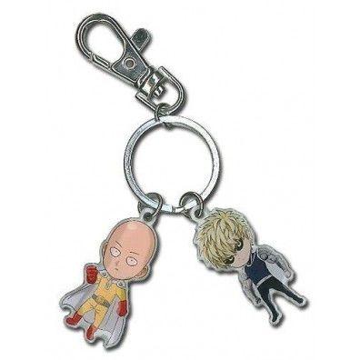 Metal Saitama and Genos keychain